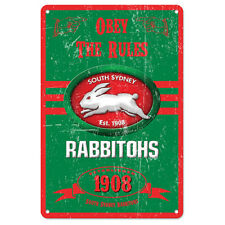 Official NRL South Sydney Rabbitohs Obey The Rules Retro Metal Sign Decoration