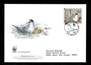 Postal History Croatia #621a-d FDC SET OF 4 WWF Tern bird 2006 World Wildlife