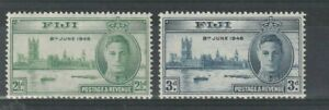 FIJI 17 AUGUST 1946 PEACE VICTORY PAIR OF COMMEMORATIVE STAMPS MNH