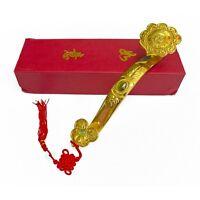 """10"""" Big Golden Feng Shui RuYi Ru Yi Scepter with Auspicious Words"""