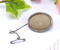 Vintage Sterling Silver Photo Picture Frame Brooch with Safety Chain