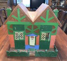"Antique Cottage Style Wooden Dollhouse w/ Multi-Peak Roof, 15"""