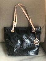 MICHAEL KORS Women's Jet Set Handbag Purse Black Patent Leather MK Tote Satchel