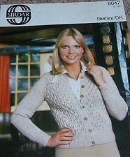 Original Sirdar Knitting Pattern Lady's DK Lacy Look Panel Patterned Cardigan