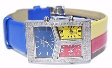 Unisex Techno King Stainless Steel White Diamond Multi Color Tone Watch