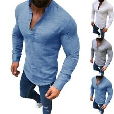 Men Stylish Long Sleeve Linen Shirt Casual Shirt Breathable Soft V-Neck Tops CG