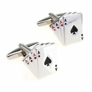 Ace of Spades Hearts Clubs Poker Card Player Men's Silver Colour Cufflinks Mens