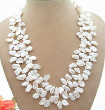 "19"" 2Strands 12mm White Keshi  Pearl Necklace"