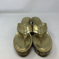 Coach Jody Women's Brown Gold Wedge Sandals Size 5.5 B