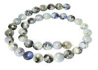 😏 Blauer Opal Perlen gewölbte Münzen ca. 10 mm Edelsteinperlen Strang 😉