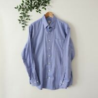 Peter Millar Men's Nanoluxe EasyCare Long Sleeve Button Front Shirt L Large Blue