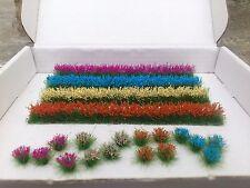 4 Flower strips/20 Flower Tufts for OO/HO gauge Model Railway/Dioramas/Scenery