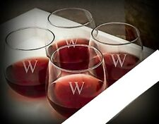 Letter W / Stemless Wine Glasses / Set of 2 / Etched Engraved / Lead-Free / 16oz