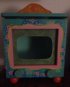 Small Wooden Teal TV Fish/Marimo Tank Cover
