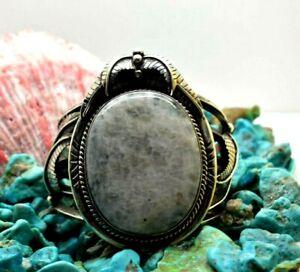 "Huge Rainbow Moonstone Cuff Sterling Silver 925 Bracelet 176g 7.25"" MAP092"