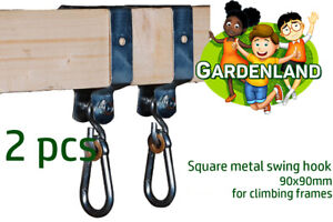 TWO Square SWING HOOKS 90x90mm galvanised steel swing set climbing frame