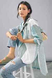 Anthropologie Maeve Alix Henley Blouse Stripe Sz SMALL RUNS BIG