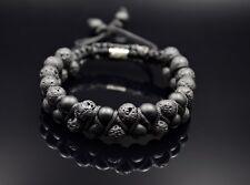 Herren Doppel Armband Shamballa Naturstein Onyx Lavastein Geschenk für Mann