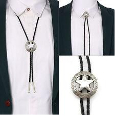 Mens Silver Bolo Star Western Cowboy Shirt Rodeo Bolo Neck Tie Dance Necktie