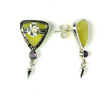Classic Vintage Jewelry Green Tea Amethyst 925 Silver Stud Earrings Special