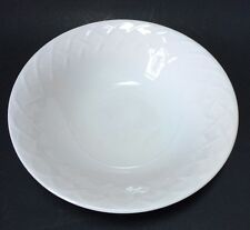 "Oneida Picnic 9.5"" Round Vegetable Serving Bowl White Embossed X Pattern"