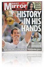 Andy Murray wimbledon 2013 finale storico GIORNALE DAILY MIRROR 08.07.13 Nuovo di zecca