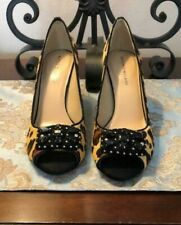 ANTONIO MELANI Kayden Women Open-Toe Stilettos Size 9.5 M Leopard Print Faux Fur