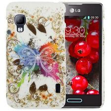 HardCase Schutzhülle für LG E455 Optimus L5 II Dual Schmetterling bunt weiß Etui
