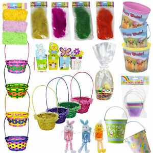 Easter Baskets, Buckets, Coloured Grass, Boxes, Gift Wrap - Choose Design