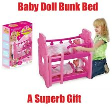 "18"" PINK Baby Doll BUNK BED Cot Gift Toy Girl Pretend Play Kids Children Pillow"