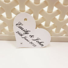 100 Personalised Heart Wedding Favour Thank You Tags with Diamante Ivory White