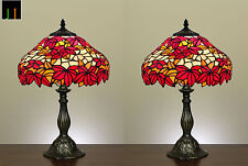 "Pair - 12"" Tiffany Maple Leaf Style Stained Glass Bedside Table Lamp Leadlight"