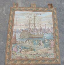 Vintage Tapiz Francés Escena Hermosa Puerto De Mar 74x64cm (A1041)