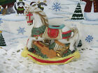 """Rocking Horse Vintage 80s Giftco Taper Candle Holder Ceramic Bisque 4"""" high"""
