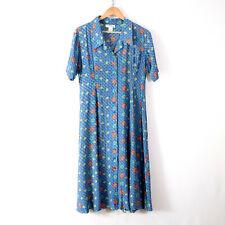 vintage daisy floral washable silk shirt dress L 12 retro french cute chic vtg