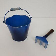 Vintage Child Garden Tools Gardening Blue Ombre Bucket Shovel Set Childrens Kids