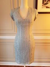 Parker Black label gray silver silk party Sequin Dress Size 2