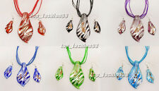 wholesale 6set Foil leaf Lampwork glass pendant Silver P Necklaces Earring FREE