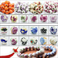 10/20Pcs Round Ceramic Porcelain Loose Spacer Beads Flower Pattern Charms Bead