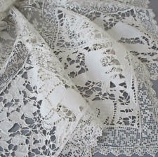 """Antique Italian Whitework Mixed LACE 36"""" Topper FIGURAL Hand Embroidery FILET +"""