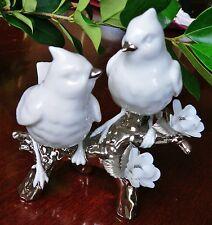 ❤️ New Lladró Re-Deco Nature's Duet Love Birds White Porcelain+Platinum NIB RARE