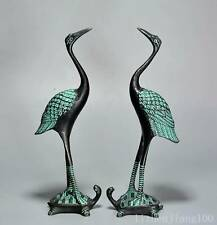 AAA Collectable Antique Bronze Hand Carve Crane & Turtle Moral Bring Luck Statue