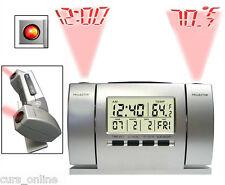 Sveglia Orologio 2 Proiettori Regolabili Soffitto Muro Ora Data Temperatura Led