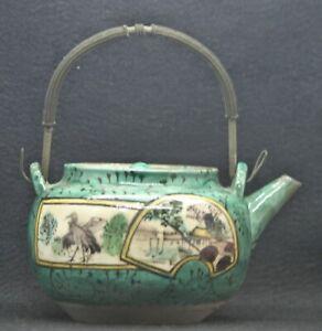 Fantastic Antique Chinese Hand Painted Enamel Porcelain Teapot Circa 1800s