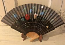 Vintage Black Hand Held Pleated Folding Fan Painted Floral Fabric Wood Pierced