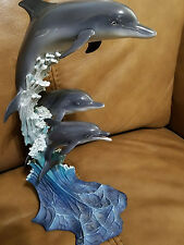 """The Danbury Mint """"Riding the Wave"""" Dolphins figurine statue by Mike Atkinson"""