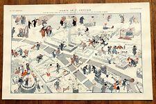 1921 Vie Parisienne French Magazine Centerfold -- Paris January 1st