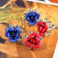 Cn _ Ft- Femmes Fleur Rose Boucles D'Oreille Incrusté de Strass D'Oreilles Bijo