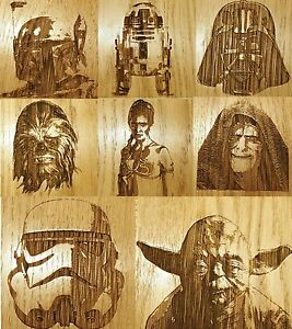 Engraved Star Wars Wooden Coaster Gift Set Darth Yoda Housewarming Leia R2D2
