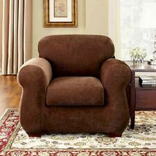 Sure Fit Stretch Pique 2 Piece Chair CHOCOLATE NEW